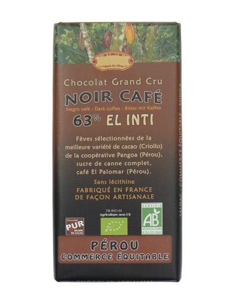 Bio hořká čokoláda s kávou El Palomar 63% kakaa 100g EL INTI