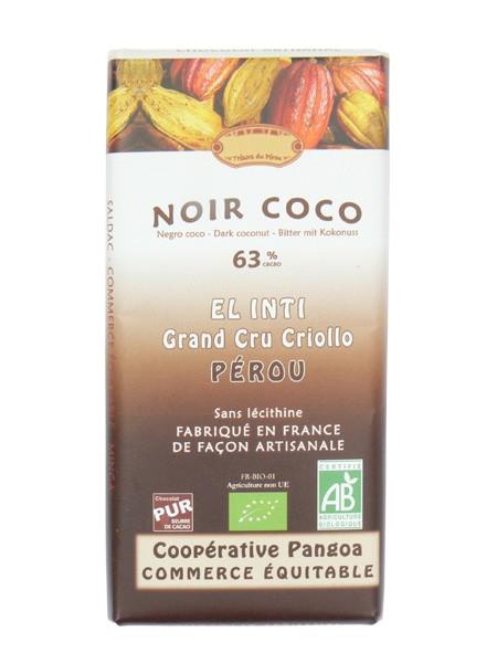 Bio hořká čokoláda s kokosem 63% kakaa 100g EL INTI
