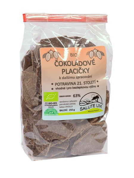 Čokoládové placičky z BIO hořké čokolády EL INTI 63% kakaa 250g