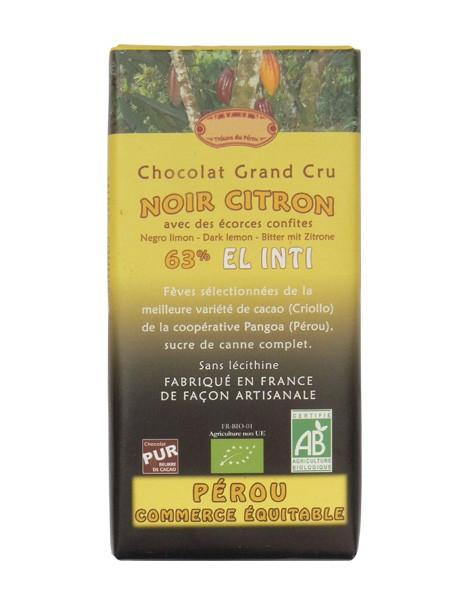 Bio hořká čokoláda s citronem 63% kakaa 100g EL INTI
