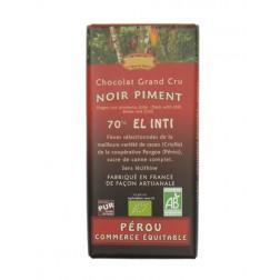 Bio hořká čokoláda s chilli 70% kakaa 100g EL INTI