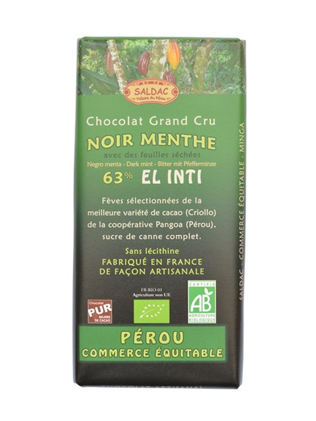 Bio hořká čokoláda s mátou 63% kakaa 100g EL INTI