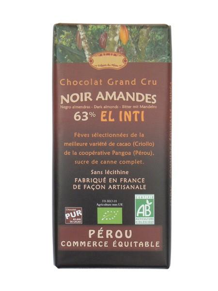 Bio hořká čokoláda s mandlemi 63% kakaa 100g EL INTI