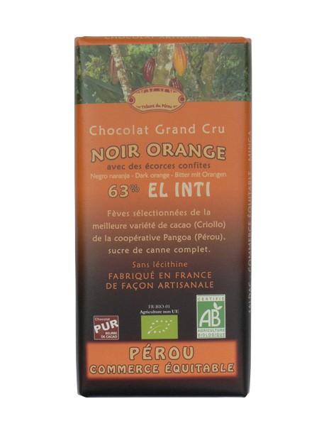 Bio hořká čokoláda s pomerančem 63% kakaa 100g EL INTI